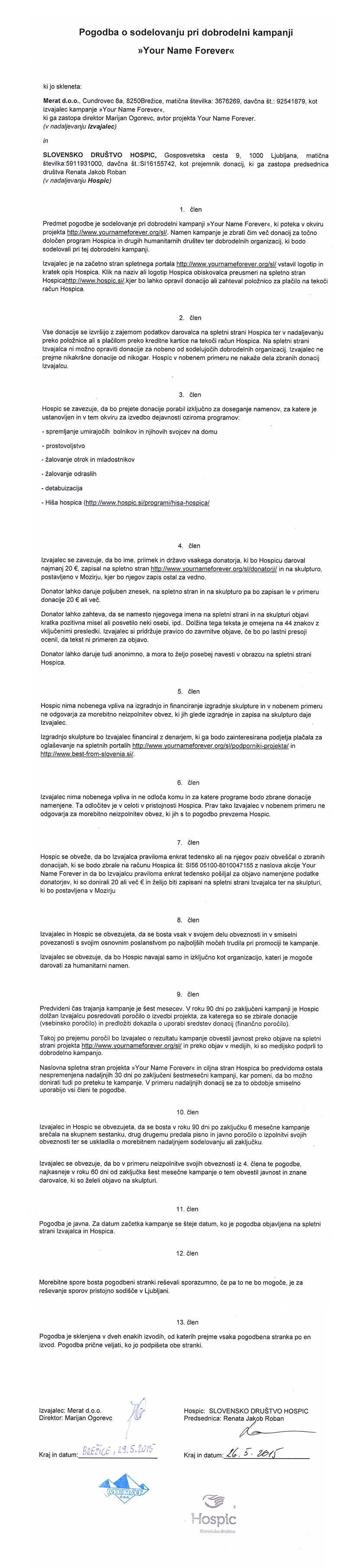 Pogodba-Hospic